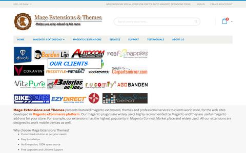 Screenshot of Home Page mage-extensions-themes.com - Mage Extensions Themes- Magento Extensions, Plugins, Services, Magento development - captured Oct. 30, 2017