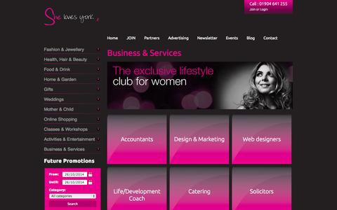 Screenshot of Services Page shelovesyork.co.uk - Business & Services   She Loves York   Exclusive discounts, vouchers and special  offers in York - captured Oct. 26, 2014