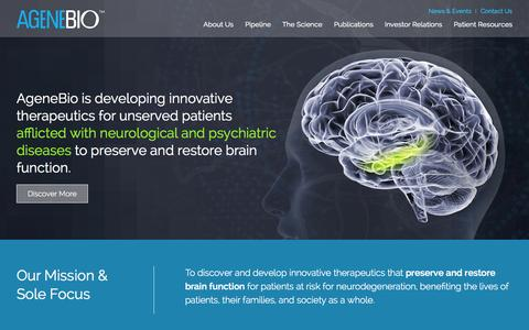 Screenshot of Home Page agenebio.com - AgeneBio   Developing Innovative Therapeutics that Preserve and Restore Brain Function - captured Jan. 26, 2015