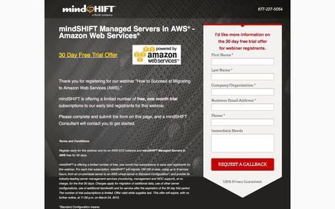 Screenshot of Landing Page mindshift.com - mindSHIFT Managed Servers in AWS Webinar Offer - captured Feb. 11, 2016