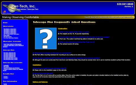 Screenshot of FAQ Page pier-tech.com - Telescope Pier Frequently Asked Questions - captured Oct. 2, 2014