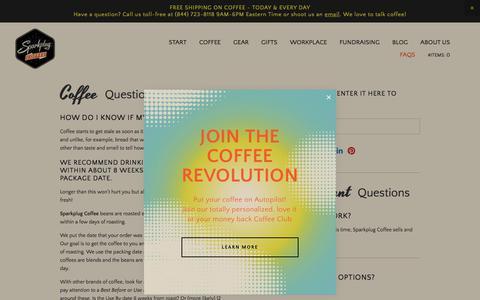 Screenshot of FAQ Page sparkplugcoffee.com - FAQs — Sparkplug coffee - captured Aug. 1, 2019