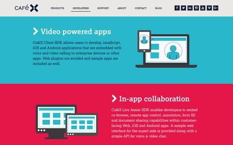 Screenshot of Developers Page cafex.com - WebRTC Apps for Developers, Mobile and Web Engagement, CafeX - captured July 3, 2016