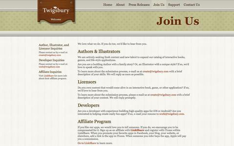 Screenshot of Developers Page twigsbury.com - Join Twigsbury - captured Oct. 9, 2014