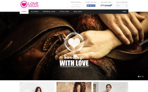 Screenshot of Home Page love-handbags.com - Love Handbags | Unique designer leather handbags and hipster bags | Love Handbags - captured Jan. 14, 2018