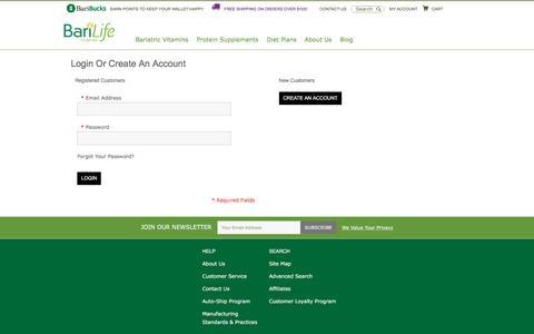 Screenshot of Login Page barilife.com - Customer Login - captured Feb. 7, 2016