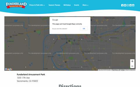 Screenshot of Maps & Directions Page funderlandpark.com - Directions – Funderland Amusement Park - captured Oct. 11, 2018