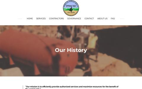 Screenshot of About Page pphcsd.org - History - PHELAN PINON HILLS COMMUNITY SERVICES DISTRICT - captured Dec. 14, 2018