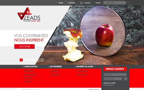 Screenshot of Home Page leads-france.com - LEADS - Les Agences Design & Stand - captured June 21, 2015