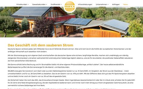 Screenshot of Press Page sonnenkonto24.de - News Archive | maxx solar - captured Nov. 28, 2016
