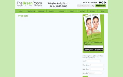 Screenshot of Products Page thegreenroomuk.co.uk - Products | The Green Room Bournemouth - captured Oct. 24, 2018