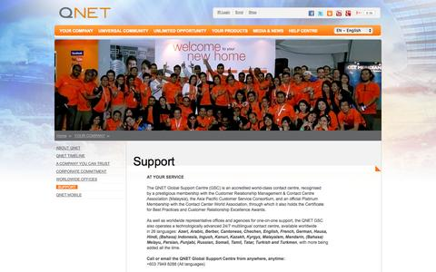 Screenshot of Support Page qnet.net - QNet.net – Multilingual Contact Centre - captured Sept. 18, 2014