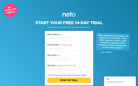 Screenshot of Trial Page neto.com.au - Sign up for a free trial | Neto - captured June 8, 2017