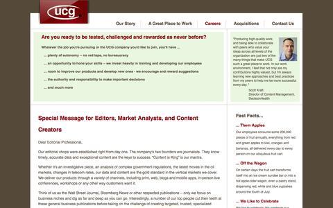Screenshot of Jobs Page ucg.com - UCG - Careers - Editorial - captured Oct. 31, 2014