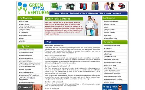 Screenshot of FAQ Page greenpetalventures.com - Frequently Asked Questions. - captured Sept. 30, 2014