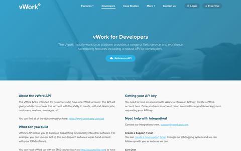 Screenshot of Developers Page vworkapp.com - vWork Mobile Workforce Platform API For Developers | vWork App - captured Dec. 2, 2016