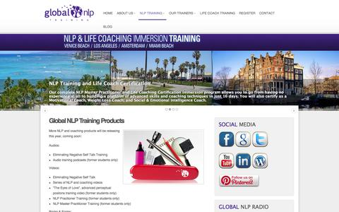 Screenshot of Products Page globalnlptraining.com - Products � Global NLP Training - captured Dec. 9, 2015