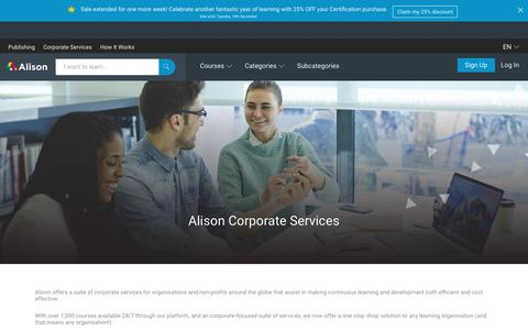 Screenshot of Services Page alison.com - Corporate Training Services & Enterprise Learning Solutions | Alison - captured Dec. 16, 2017