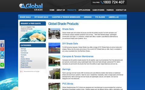 Screenshot of Products Page globalshade.com.au - Global Shade Products | Shade Sails & Shade Structure Solutions Australia - captured Oct. 2, 2014