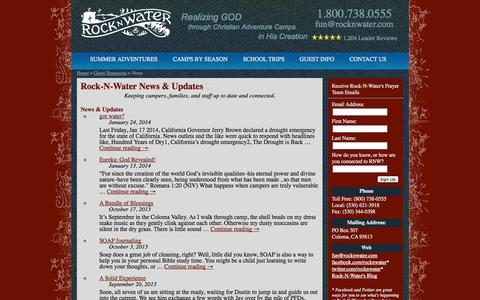 Screenshot of Press Page rocknwater.com - News Updates and Press Releases from Rock-N-Water - captured Oct. 26, 2014