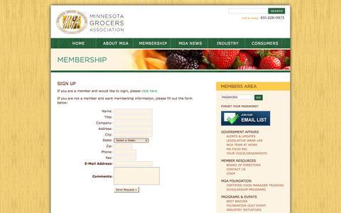 Screenshot of Signup Page mngrocers.com - Minnesota Grocers Association - captured June 21, 2016