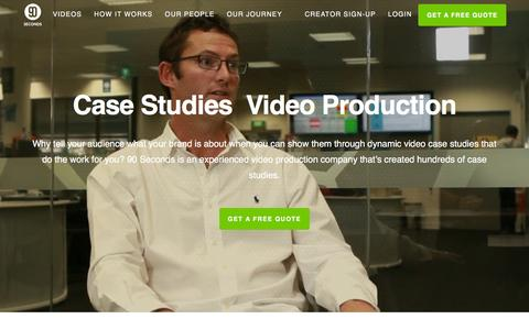 Screenshot of Case Studies Page 90seconds.com.au - Case Studies Video Production - 90 Seconds - captured Feb. 13, 2016