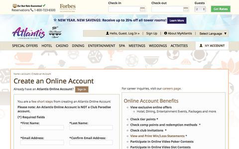 Screenshot of Signup Page atlantiscasino.com - Create an Account - captured Jan. 16, 2017