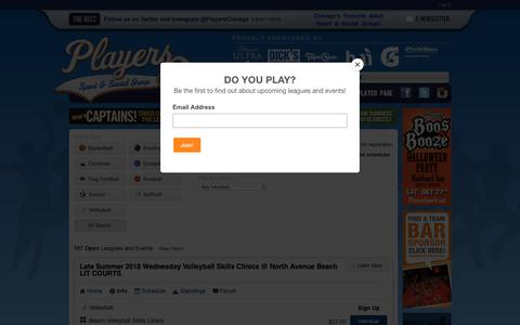 Screenshot of Signup Page playerssports.net - Leagues and Tournaments: Players Sport & Social Group - Chicago, IL - captured Sept. 28, 2018