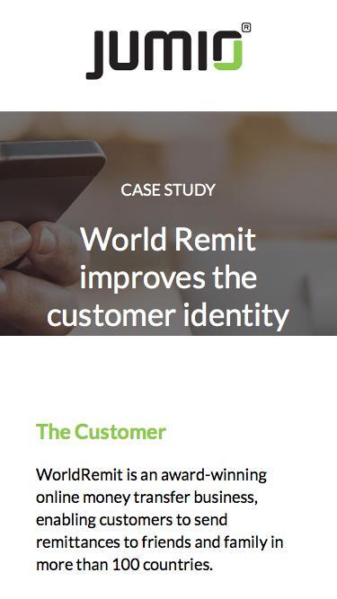 Case Study: World Remit improves the customer identity verification process using Jumio's Netverify