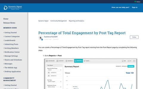 Screenshot of Support Page dynamicsignal.com - Percentage of Total Engagement by Post Tag Report – Dynamic Signal - captured Nov. 4, 2019