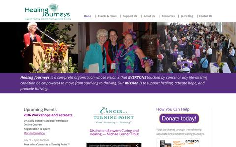 Screenshot of Home Page healingjourneys.org - Healing Journeys | FREE Cancer as a Turning Point™ Conferences - captured July 12, 2016