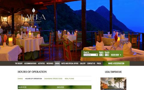 Screenshot of Hours Page ladera.com - Restaurant St Lucia | Ladera St Lucia Resort - captured Oct. 18, 2016