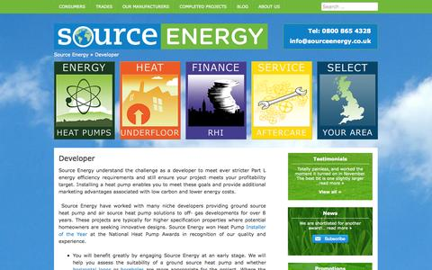 Screenshot of Developers Page sourceenergy.co.uk - Heat pump solutions for developers - Source Energy - captured Oct. 7, 2014