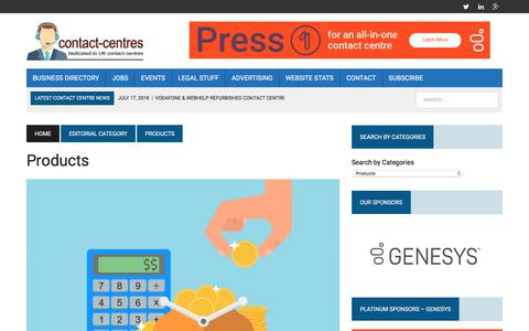 Screenshot of Products Page contact-centres.com - Products Archives - Contact-Centres.com - captured July 24, 2018