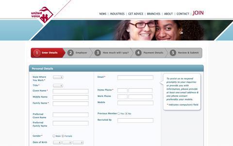 Screenshot of Signup Page unitedvoice.org.au - Enter Details   United Voice - captured Oct. 27, 2014