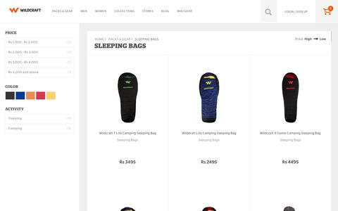 Screenshot of wildcraft.in - Buy Wildcraft Sleeping Bags Online for Hiking and Camping - captured March 19, 2016