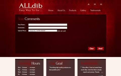 Screenshot of Testimonials Page alldib.com - Testimonials - ALLdib - captured Oct. 4, 2014