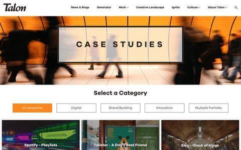 Screenshot of Case Studies Page talonoutdoor.com - Case Studies - Talon Outdoor - Out of Home Media Specialists - captured Sept. 20, 2018