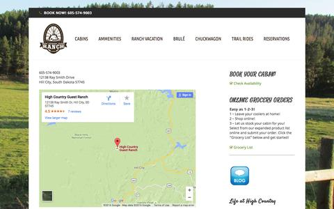 Screenshot of Contact Page highcountryranch.com - Contact Page «  High Country Guest Ranch - captured March 5, 2016