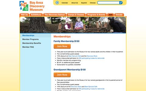 Screenshot of Signup Page baykidsmuseum.org - Memberships | Bay Area Discovery Museum - captured Nov. 14, 2015