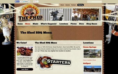 Screenshot of Menu Page theshedbbq.com - Menu - The Shed Barbeque & Blues Joint - captured Oct. 9, 2014