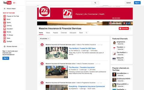 Screenshot of YouTube Page youtube.com - Massive Insurance & Financial Services  - YouTube - captured Oct. 27, 2014
