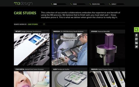 Screenshot of Case Studies Page m3design.com - Case Studies Archive | M3 Design | Strategic Product Development - captured Sept. 30, 2014