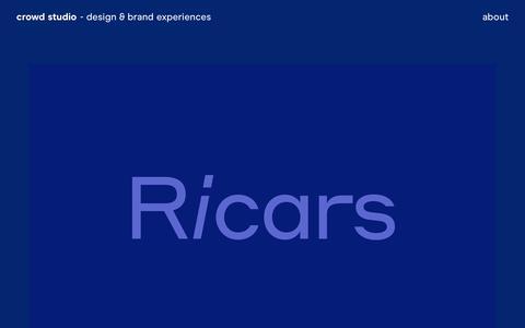 Screenshot of Home Page crowd-studio.com - Crowd Studio | Branding, Art Direction of Ricars - captured Oct. 21, 2018