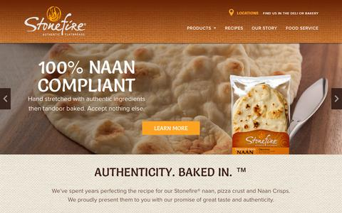 Screenshot of Home Page stonefire.com - Stonefire Authentic Flatbreads - captured Nov. 12, 2015