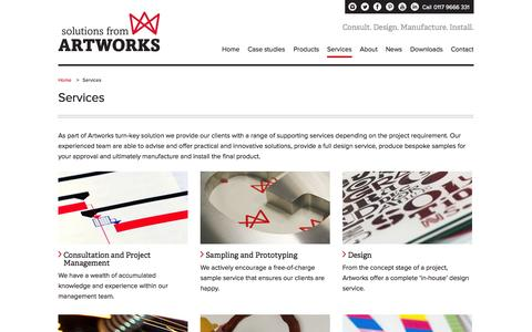 Screenshot of Services Page artworks-solutions.com - Services - Artworks Solutions Ltd - captured Oct. 4, 2014