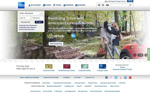 Screenshot of Home Page americanexpress.com - American Express Credit Cards, Rewards, Travel and Business Services - captured Dec. 1, 2015