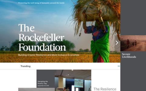 Screenshot of Home Page rockefellerfoundation.org - Home - The Rockefeller Foundation - captured Oct. 1, 2015