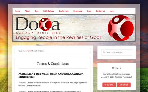 Screenshot of Terms Page doxa-canada.com - Terms & Conditions - captured Nov. 24, 2016