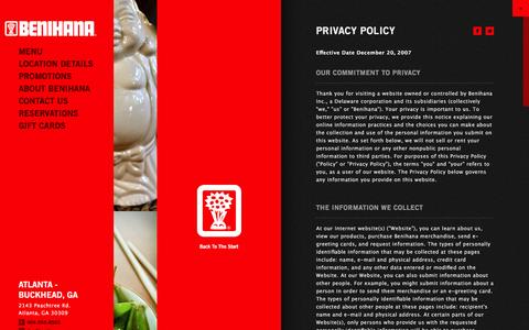 Screenshot of Privacy Page benihana.com - Privacy Policy | Benihana - captured Jan. 1, 2016
